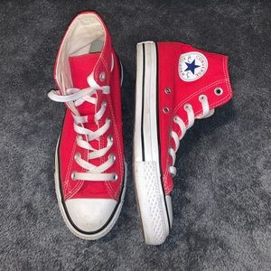 Red high top converse. Size 7